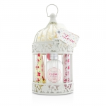 Vintage Enchanted Birdcage with Assorted Pampering Treats: 2x Hand Cream 100ml/3.38oz + Body Cream 250ml/8.45oz + 4x Heart Soap 18g + Puff