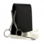 Manicure Set: Nail Clipper + Nose Hair Scissors + Tweezers + Black Leather Pouch